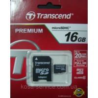 Transcend MicroSDHC 16GB Class 10 + SD-adapter